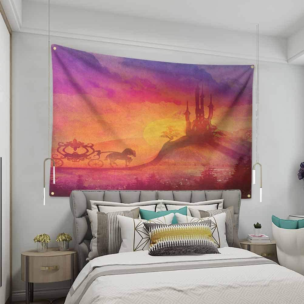 VVA Fantasy Printed tapestryFantasy Gothic Medieval Castle and Carriage with Horse Imaginary Kingdom Printream Wall Decor Blanket for Bedroom Home Dorm, Purple Orange