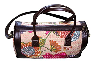 Image Unavailable. Image not available for. Colour  Men s   Women Luxury  Leather with Cotton Kantha Vintage Travel Bag GYM Bag Hobo and your 9ce3013ba1786