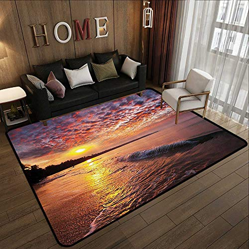 (Kids Rugs for playroom,Landscape,Photo of Sunrise with Cloudy Sky at Seashore Dramatic Dawn Island Forest,Orange Mauve Blue 71