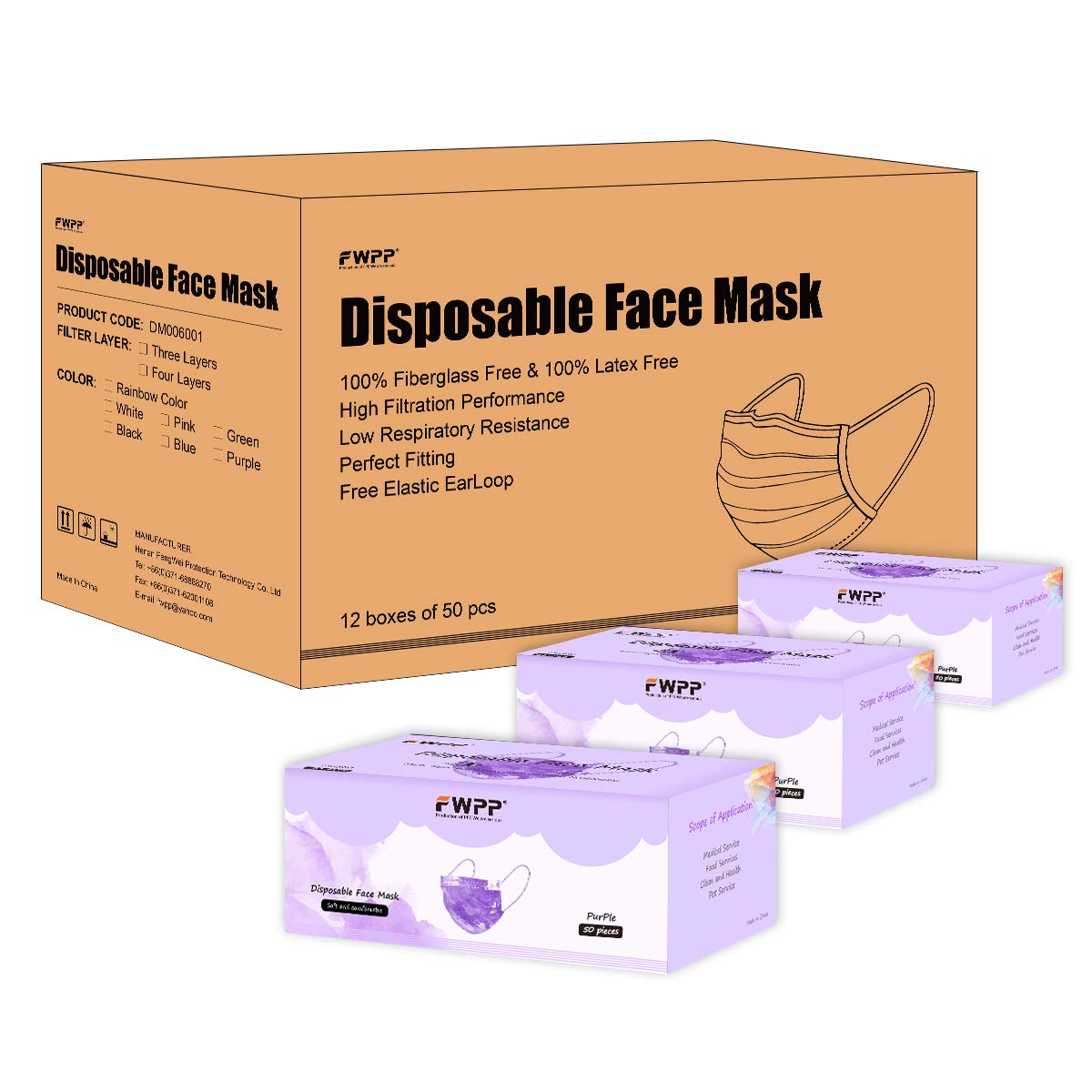 FWPP 600 pcs Breathable Earloop Disposable Face Masks Surgical Medical Economy Plus Taro Purple by FWPP