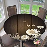 Mikihome Round Tablecloths Antique Old Planks American Style Western Rustic Wooden and White Daisies, Grass and Butterflies or Everyday Dinner, Parties 55''-59'' Round (Elastic Edge)