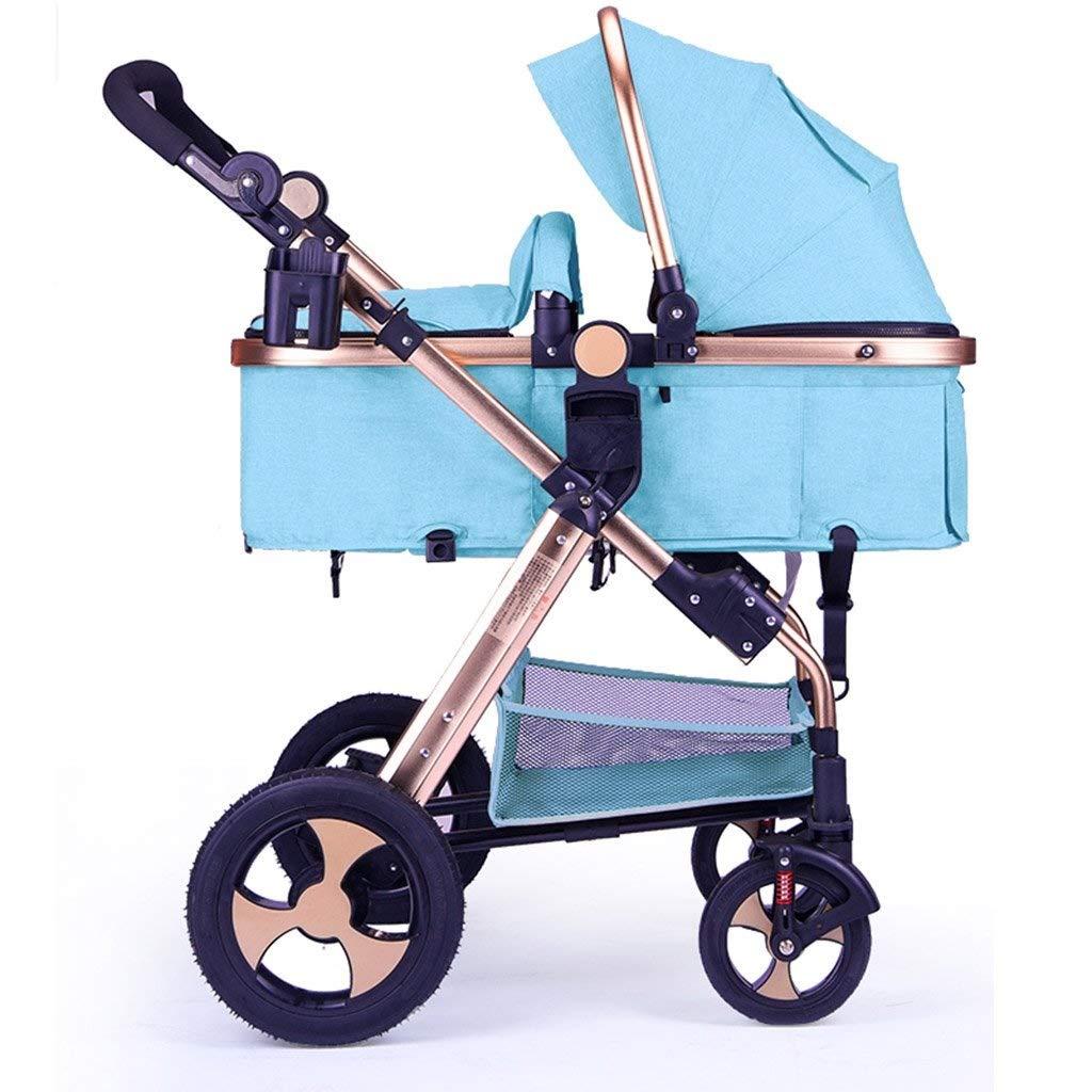 ベビーカー簡単折りたたみ安全多機能ベビーカーオーニング双方向調整カート ( Color : Linen blue , Size : 47*80*106cm )   B07QRR44MV