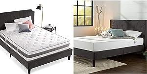 Zinus 12 Inch Gel-Infused Memory Foam Hybrid Mattress, Full & Shalini Upholstered Diamond Stitched Platform Bed/Mattress Foundation/Easy Assembly/Strong Wood Slat Support/Dark Grey, Full
