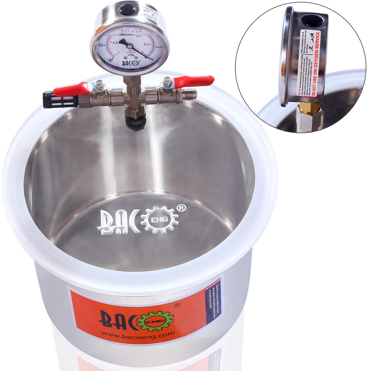 BACOENG 1.5 Gallon Stainless Steel Vacuum Chamber Silicone Kit for Degassing Resins, Silicone and Epoxies by BACOENG (Image #2)