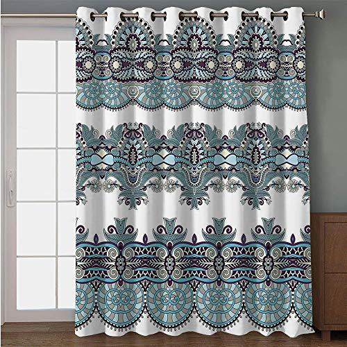 iPrint Blackout Patio Door Curtain,Paisley Decor,Ethnic Floral Bordered Triplet Design with Stripes Dots and Circles Image,Blue and White,for Sliding & Patio Doors, 102