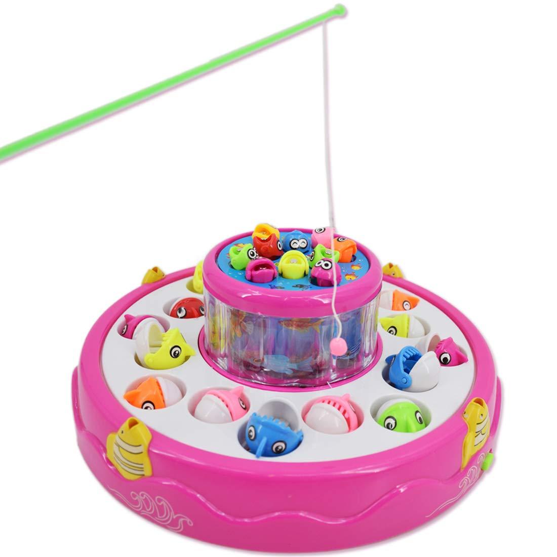 deAO Juego de Pesca Electrónico Rotatorio de Dos Niveles con Música y Luces - Incluye 4 Cañas y 26 Peces (Rosa): Amazon.es: Juguetes y juegos