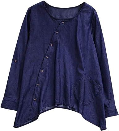 Camisas Mujer Tallas Grandes, Camisas con Botones para Mujer Manga ...