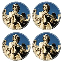 MSD Round Coasters IMAGE 31973179 Angel with garment and dice on Sant Angelo Bridge Rome The image is a close up shot