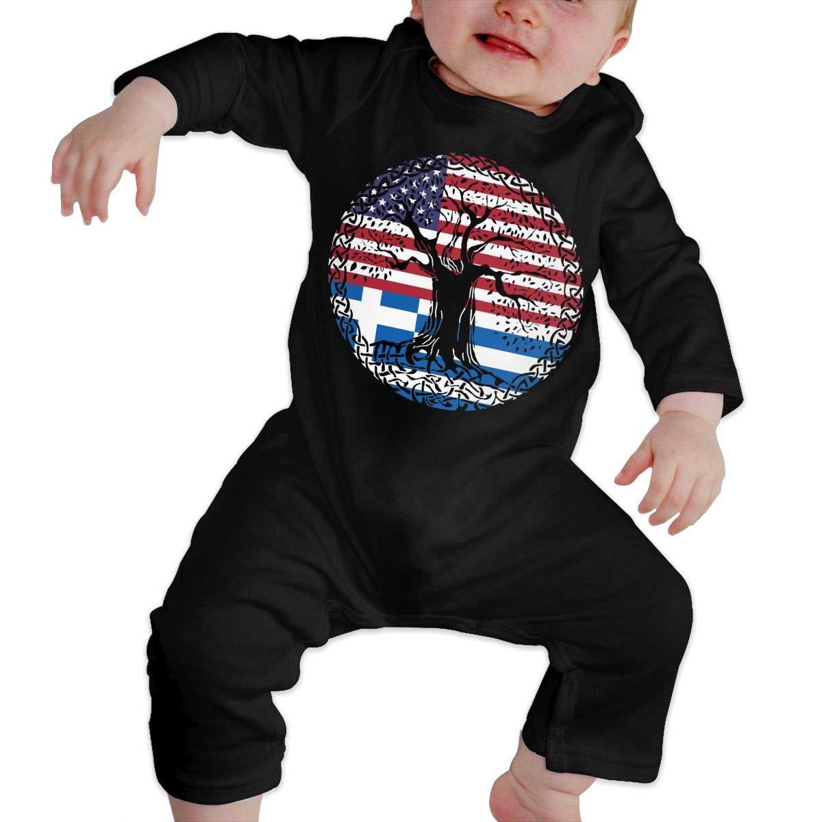 UGFGF-S3 American Heart Greek Flag Roots Newborn Baby Long Sleeve Romper Jumpsuit Baby Rompers