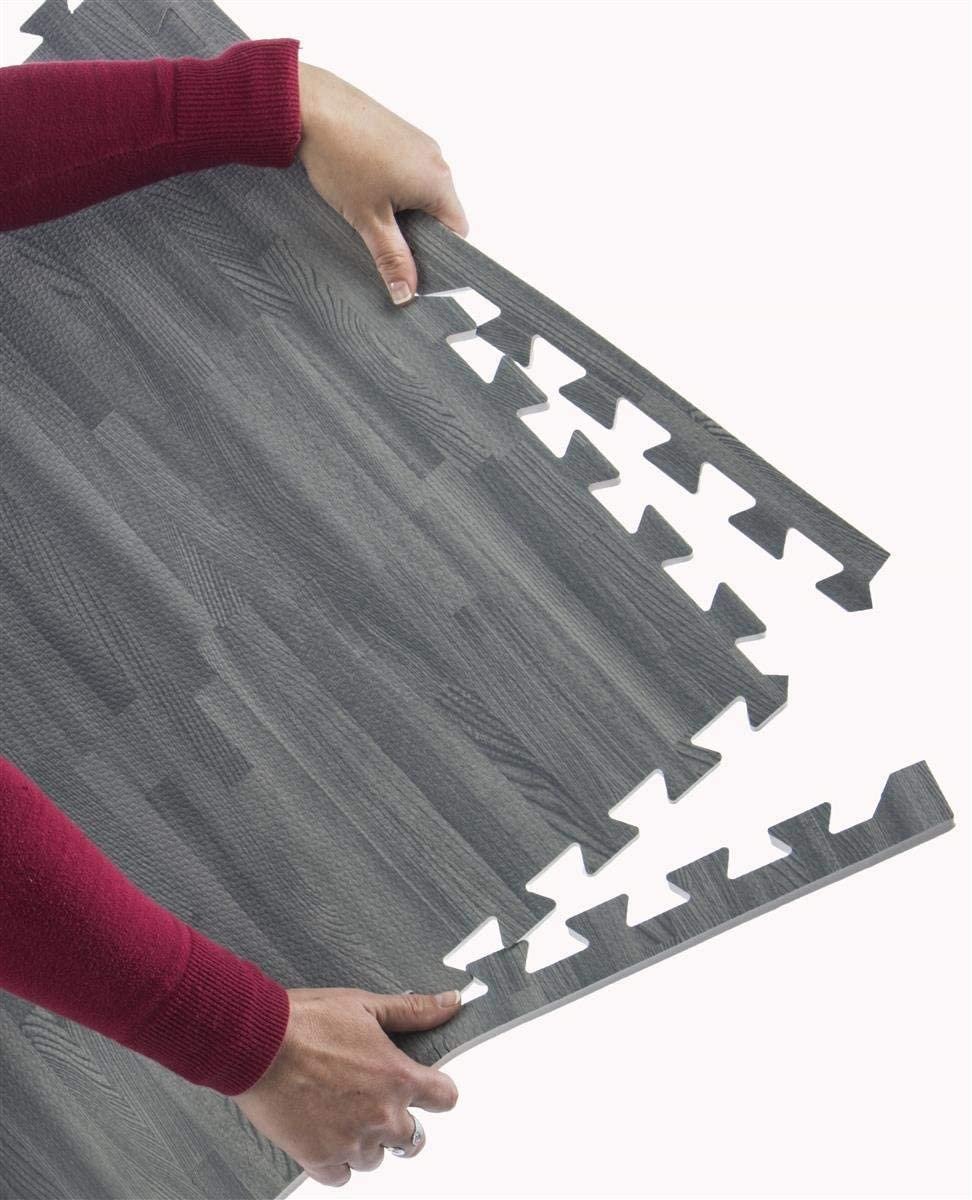 Lions 12MM Lightwood Effect Interlocking Eva Mats Foam Tiles Water Resistance Indoor Outdoor Kids Play Area Exercise Mat 60x60cmx1.2cm