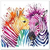 zebra print wall decals - Animal Canvas Wall Art,Modern Living Room Wall Decals,Colorful Zebra Artwork Prints for Wall Decoration,Abstract Zebra Painting Printed on Canvas,Framed and Stretched,Ready to Hang (20