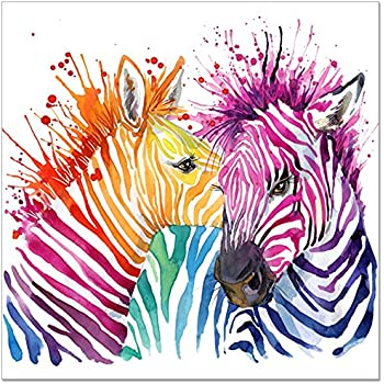 Amazon 3hdeko zebra oil painting on canvas 30x30inch gray animal canvas wall artmodern living room wall decalscolorful zebra artwork prints for wall decorationabstract zebra painting printed on canvasframed and altavistaventures Gallery