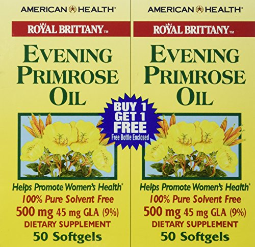 Royal Brittany Evening Primrose Oil (American Health Dietary Fiber Supplement Softgels, Evening Primrose Oil, 500 mg, 100 Count)