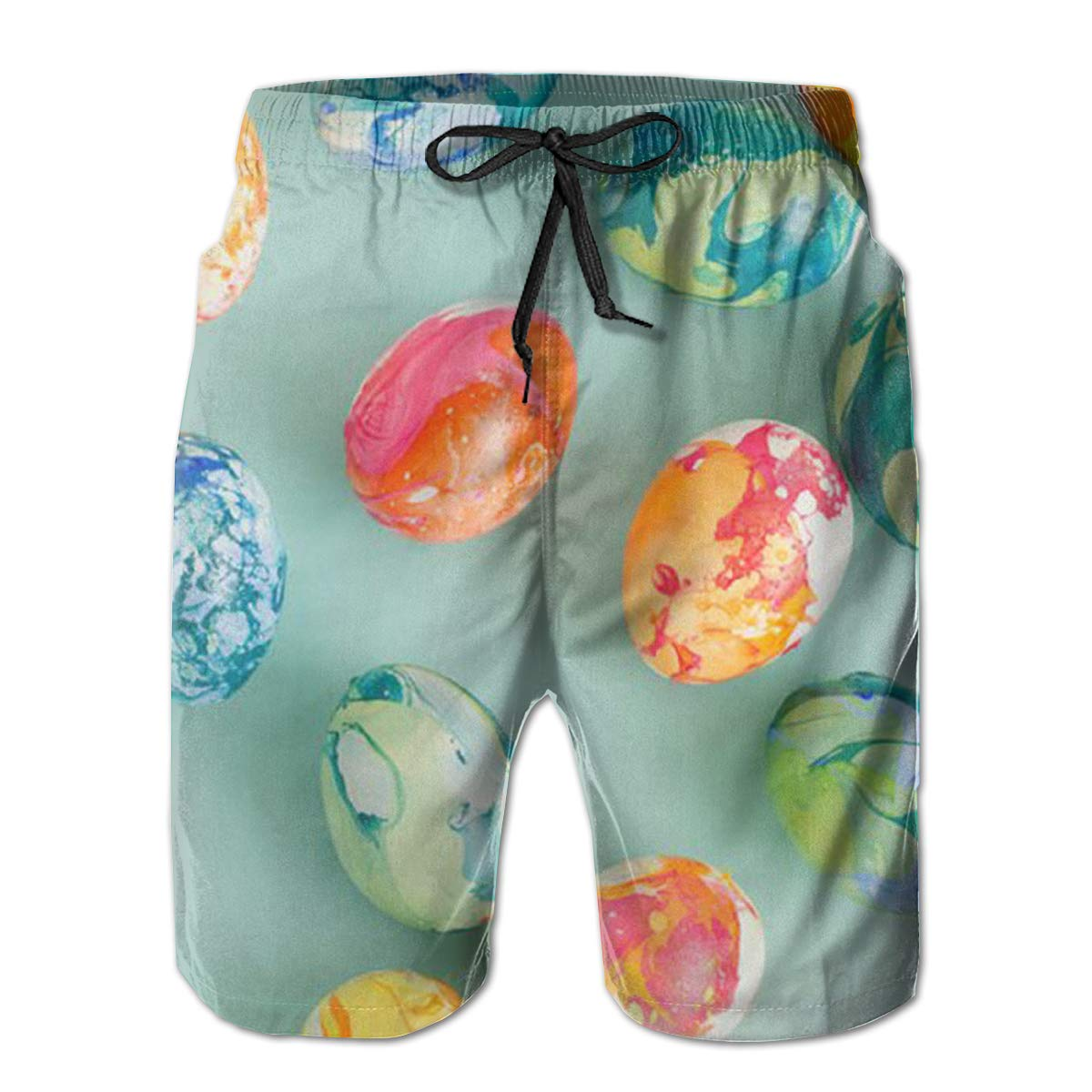 WEFHVM Happy Easter Mens Beach Board Shorts Quick Dry Summer Casual Swimming Soft Fabric with Pocket