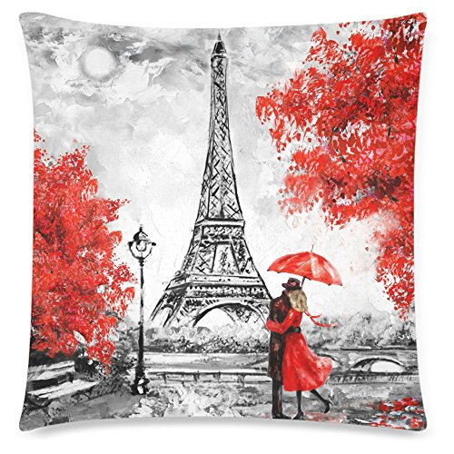 Paris France Oil Painting - InterestPrint Oil Painting Paris Eiffel Tower Throw Cushion Pillow Case Cover 18x18 Twin Sides, France Landscape Red Tree Zippered Pillowcase Shams Decorative