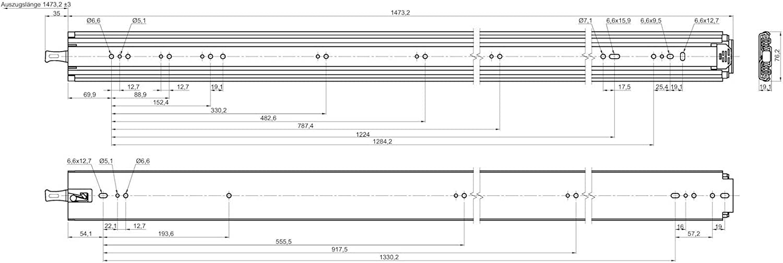 1 Paio Guide per Carichi Pesanti KV250H76L 508 mm con Lock-in//out Funzione Innesto a Scatto Capacit/à di Carico fino a 250 Kg Guida Telescopica Guida a Uscita Totale di JUNKER 20