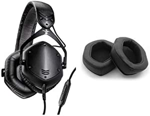 V-MODA Crossfade LP2 Vocal Limited Edition Over-Ear Noise-Isolating Metal Headphone (Matte Black) and V-MODA XL Memory Cushions for Over-Ear Headphones (Black) Bundle