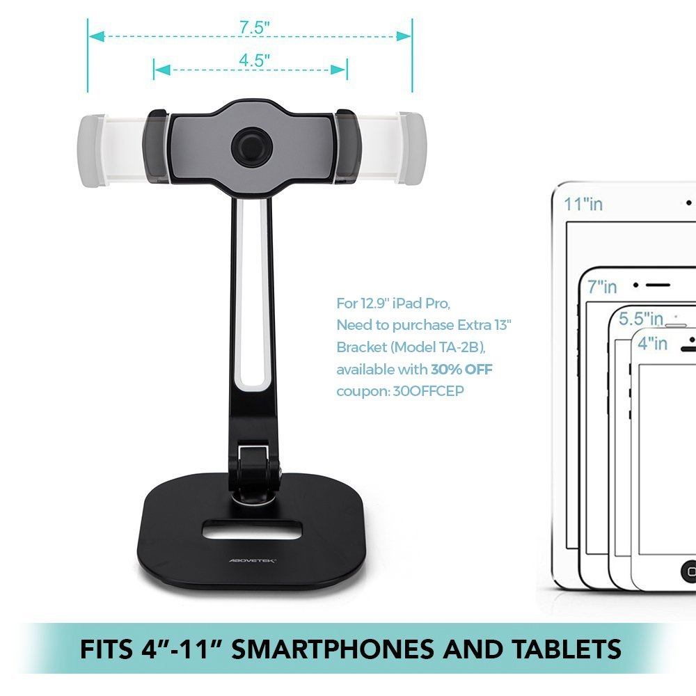 AboveTEK Long Arm Aluminum Tablet Stand, Folding iPad Stand with 360° Swivel iPhone Clamp Mount Holder, Fits 4-11'' Display Tablet/Phones for Kitchen Table Bedside Office Desk POS Kiosk Reception by AboveTEK (Image #4)