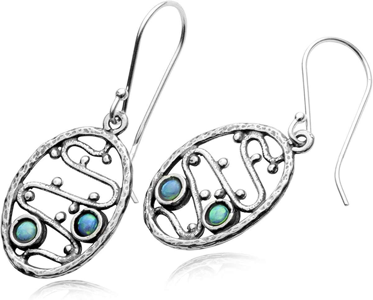 Stera Jewelry Unique Design 925 Sterling Silver Oval Dangle Earrings with 2 Created Blue Fire Opals 6143x461aXL