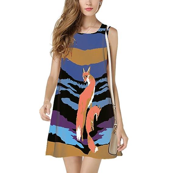 OULII Elegante vintage impresión digital Fox patrón verano sin mangas cuello redondo corto vestido de playa