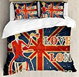 Ambesonne British Duvet Cover Set, Love London Quote with English Man on UK Flag Backdrop National Design, 3 Piece Bedding Set with Pillow Shams, Queen/Full, Gold Dark Blue Red
