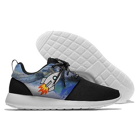 0e23b9a735390 Amazon.com: Rocket Ship Space Men's Running Shoes Mesh Soft ...
