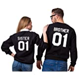 Couple Camp Sweatshirt Paar Geschenk-Set von 2 Langen Ärmeln Baumwolle schwarzen Top Schwester Bruder