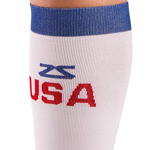 Zensah USA Compression Socks - American Flag Running Compression Sock -  Great for Runners, Travel, Nurses, Sports, Fitness