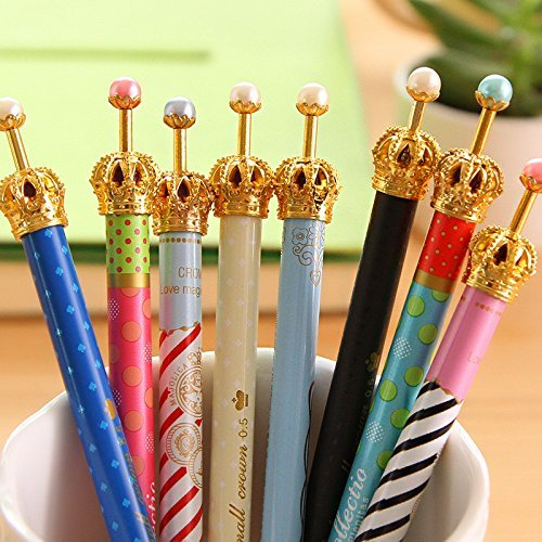 HXYTECH Set of 12 Lovely Cute Gold Crown Metal Design Ballpoint Pen for Writing Stationery School Office Supplies -