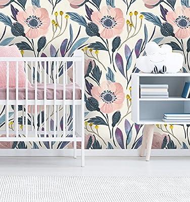 Removable Wallpaper Mural Peel & Stick Nursery Wallpaper Self Adhesive Wallpaper Vintage Style Floral