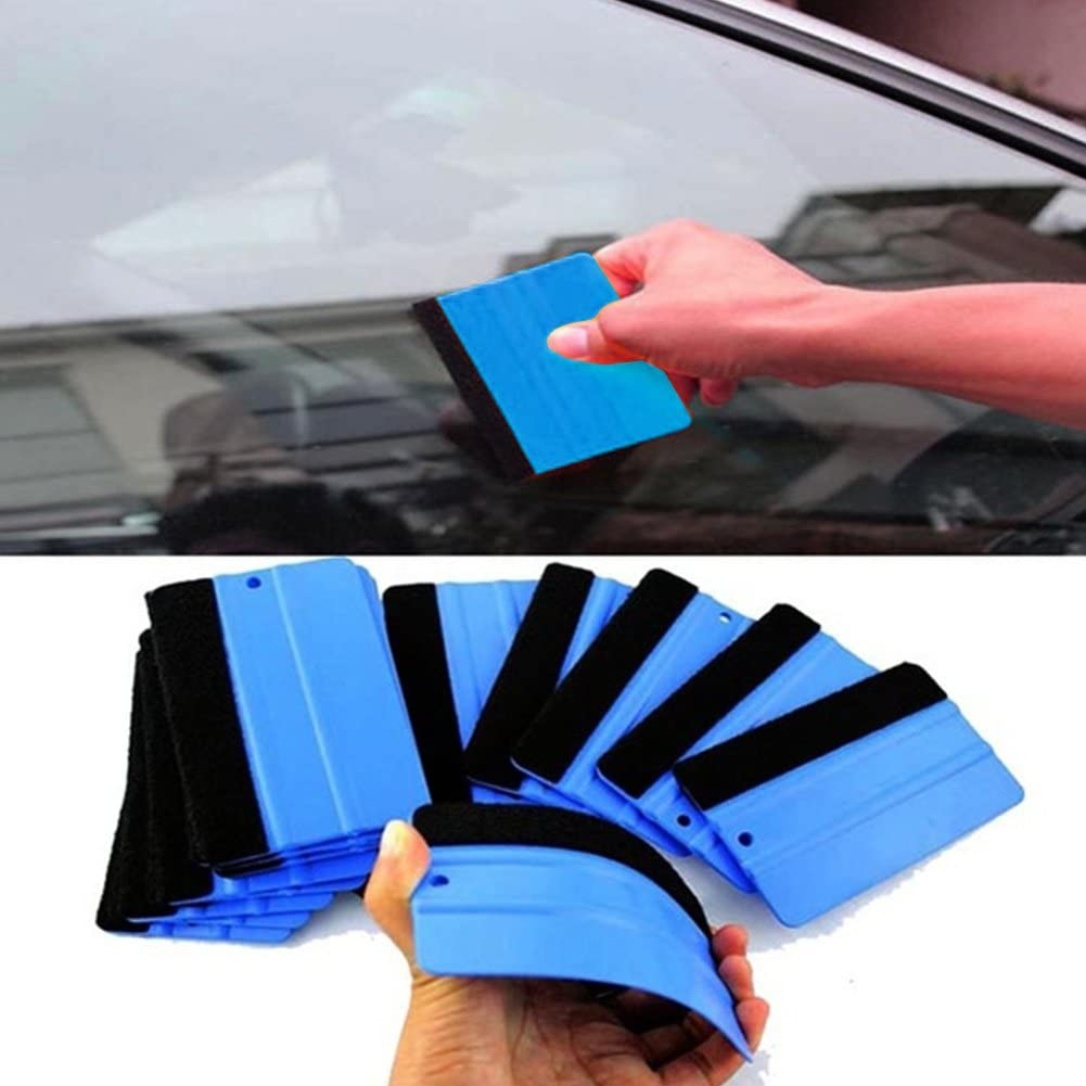 Rakel f/ür Autofenster Folie Hinmay Robuster Filzkantenwickel-Reinigungsabzieher aus Kunststoff Blau 10,2 cm