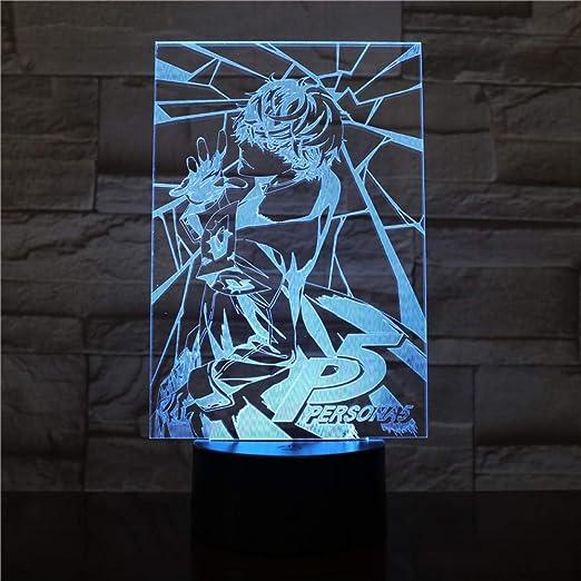 Lampada Da Illusione 3D Lampada Da Notte A Led Tokyo Ghoul Ken Kaneki Viso Bambino Per Decorazione Da Comodino Anime Regalo Per Compleanno 7 Lampada Da Tavolo A Colori