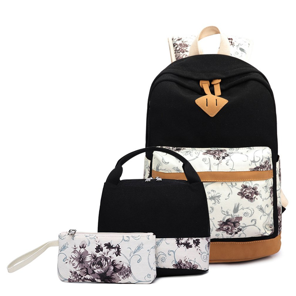 High School Backpack Set 3 in 1 Teen Girls Bookbags Insulated Lunch Bag Pencil Case