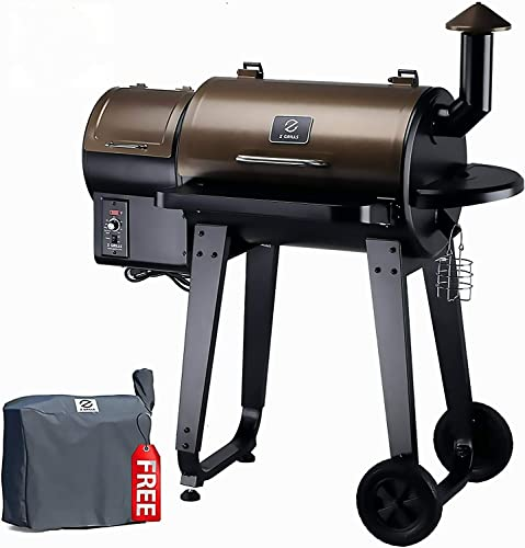 Z GRILLS Wood Pellet Grill Smoker with Auto Digital Temperature Control, 450 sq. inch Cooking – Grill, Smoke, Bake, Sear, Roast, Braise and BBQ, Free Grill Cover