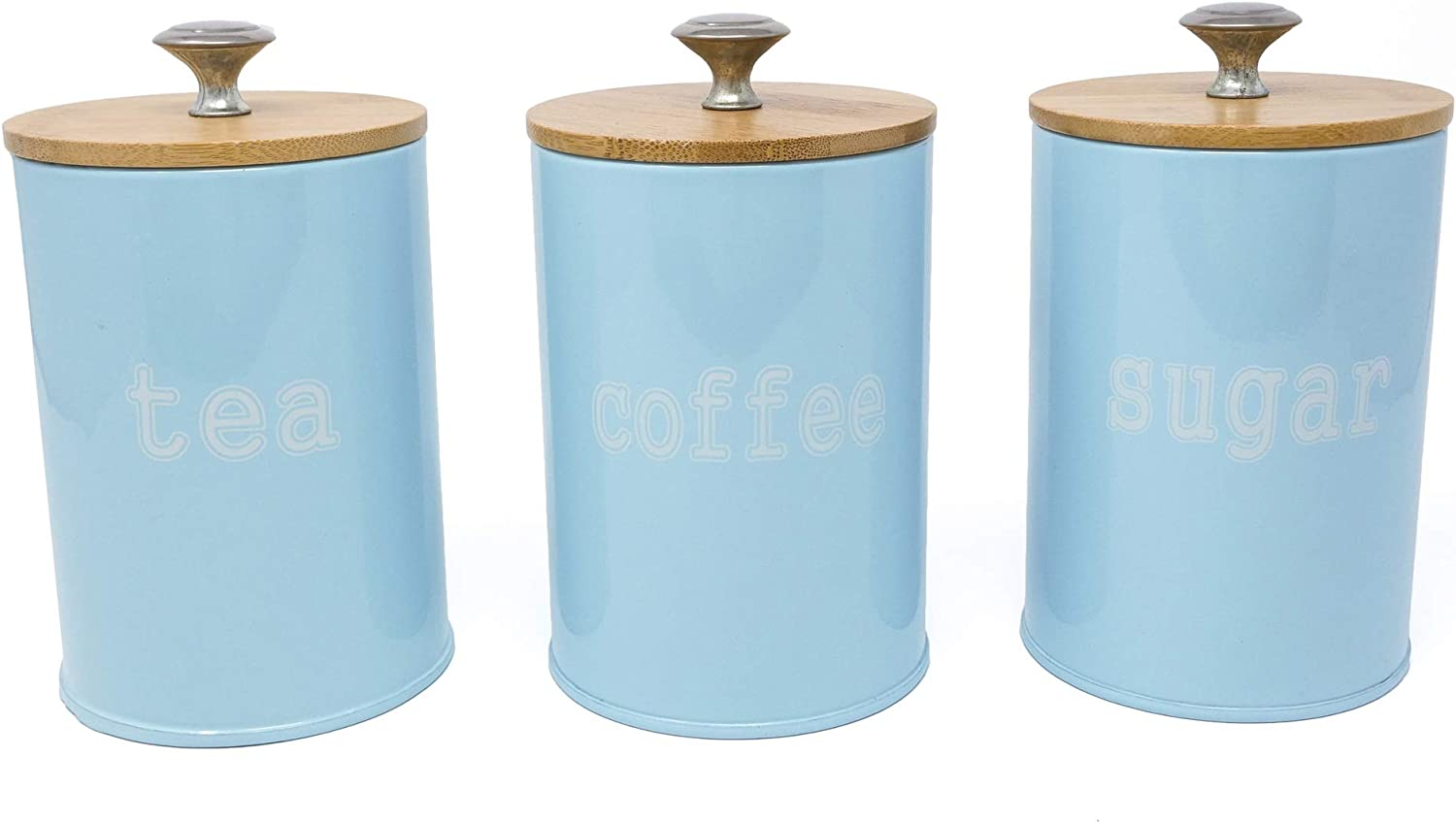 Set of 3 Metal Food Storage Tin With Bamboo Lid for Sugar Tea Coffee Canister Jar Light Blue (LIGHT BLUE)