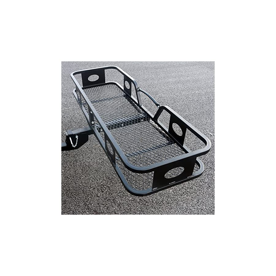 "HOBBYN Folding Basket Style Cargo Rack,59.05"" x 19.69"" x 7.87"" Folding Cargo Carrier Hitch Mount Basket Extra Thick Steel Constructed"