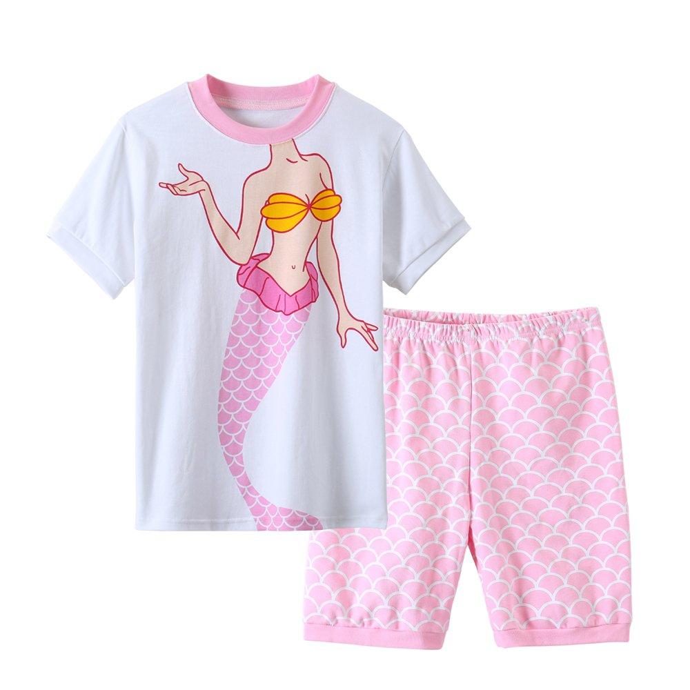 MyFav Big Girls Cartoon Pajamas Pretty Mermaid Sleepwears Loungewears Size 8-14 Years