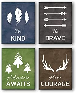 "Unframed Be Kind-Be Brave Quotes Inspirational Art Print, Deer Horn, Trees, Feather,Arrow Painting, Set of 4(8"" x10"" )Canvas Abstract Posters For Kids Room Classroom Decor"