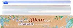 ECOOPTS 100% Compostable Cling Wrap Plastic Food Wrap with Slide Cutter and BPA Free Plastic Wrap 12inch×262FT -1 Pack