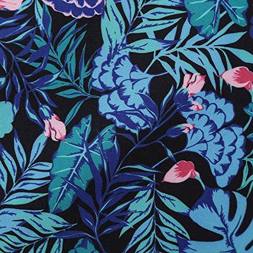 Dos Nu Vintage Femmes Charmma De Manches Floral Imprimé Pin Up Robe De Soirée Bleu