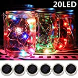 6-Pack Solar-powered Mason Jar Lights 20 LEDs (NO Jar & Handle),5 Colors Twinkle Jar Waterproof Hanging Lantern,Outdoor Garden String lighting Lids Fit for Regular Mouth Jars for Christmas Patio Lamp