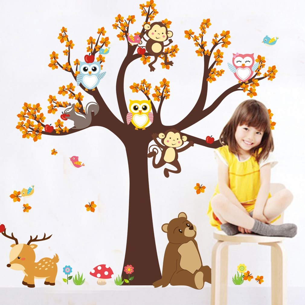Unico Foresta Animale Giraffa Scimmia Gufi Albero Wall Sticker Murale Decalcomania Per Bambini Bambini Sala Giochi Decorazione Murale, Colorato FairytaleMM