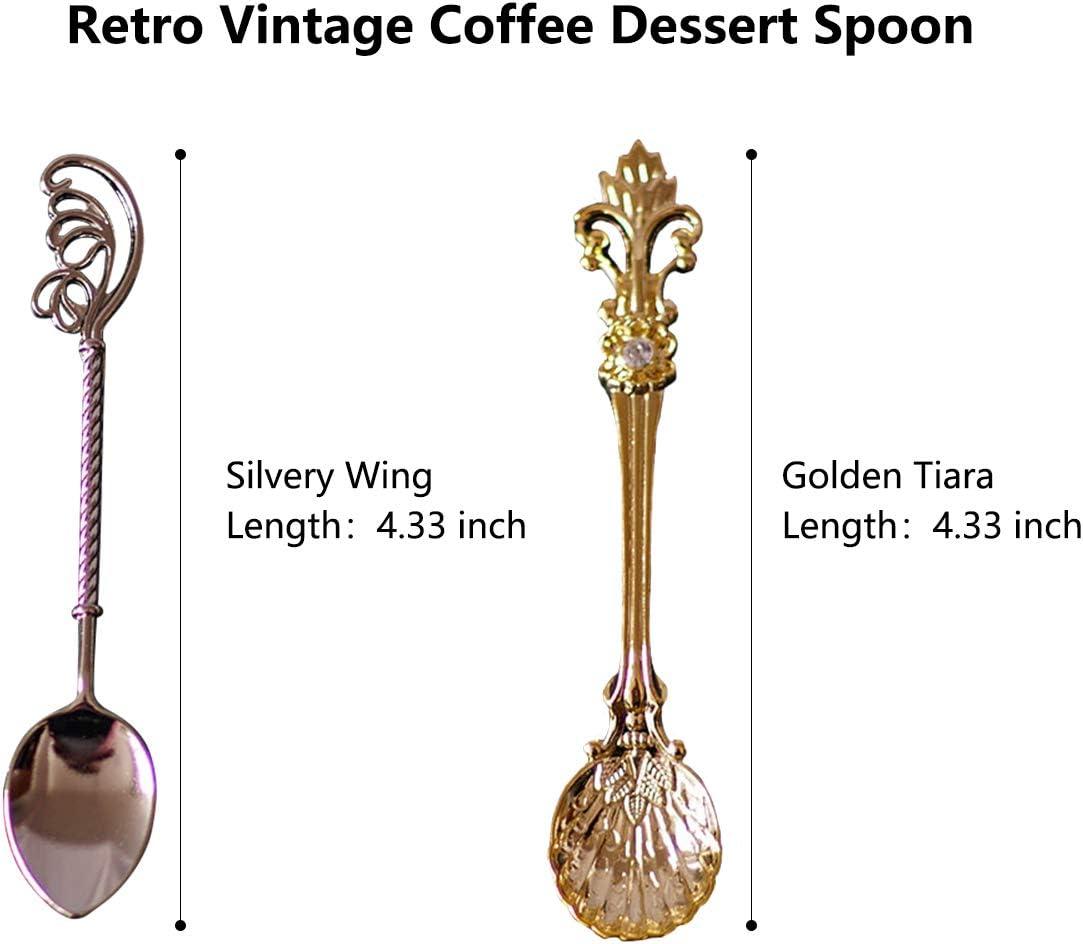 utensili da cucina vintage per casa bar con diverse forme espresso e dessert Set di 4 cucchiaini da caff/è in stile retr/ò cucchiaini per gelato ufficio cucchiaini da t/è