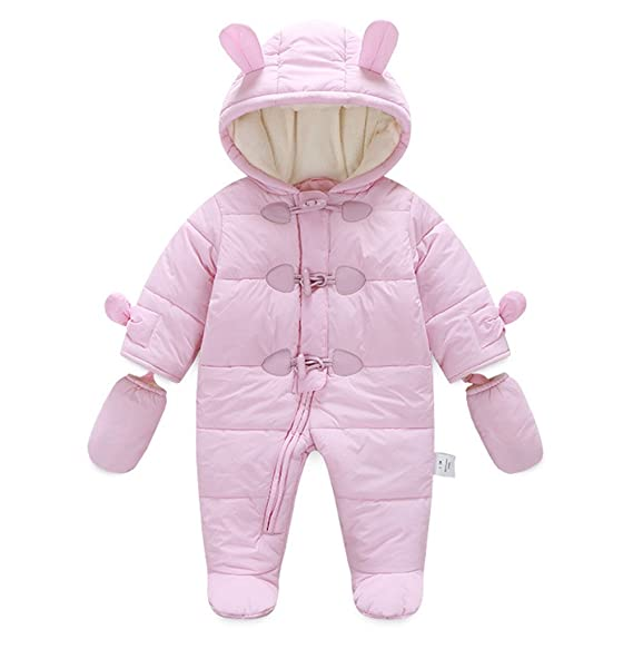 d69cde6ea281 Amazon.com  Ikerenwedding Baby Hoodie Down Jacket Jumpsuit Snuggly SnowSuit  with Gloves  Clothing