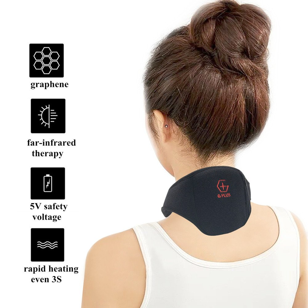 G Plus Graphene Far Infrared Heating Pad Portable Neck Belt Heat Therapy Relief Neck Pain and Eliminate Fatigue - Black by G PLUS