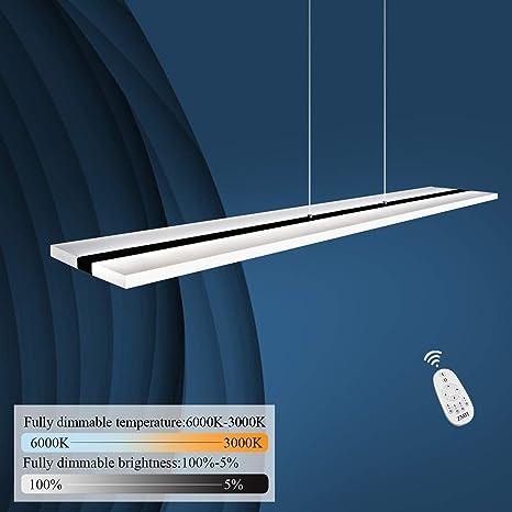 ZMH LED lámpara colgante oficina 40W Regulable con control remoto lámpara colgante mesa de comedor altura ajustable Lámpara colgante acrílico lámpara ...