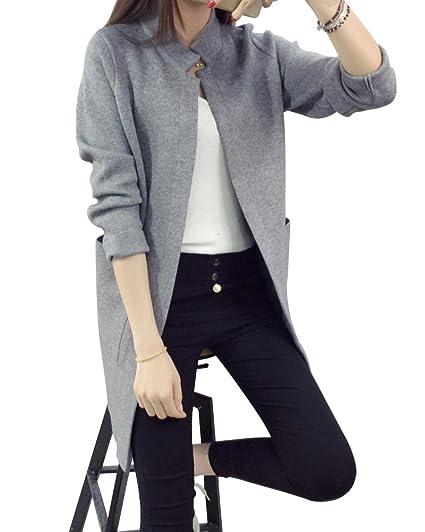 2438e3fe4693dc ZhuiKun Damen Langarm Lose Stehkragen Strickjacke Cardigan Strickmantel  Outwear Tops Pullover mit Tasche Grau