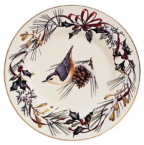(Lenox Winter Greetings Gold-Banded Nuthatch 9-Inch Accent Plate)