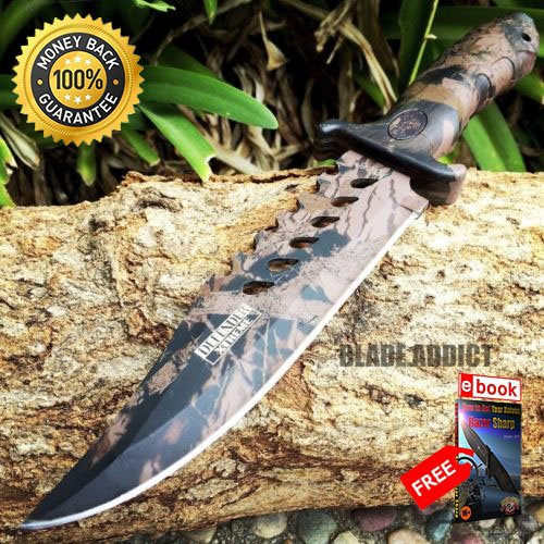 - 10.5'' CAMO TACTICAL COMBAT BOWIE HUNTING KNIFE Survival Military Fixed Blade For Hunting Tactical Camping Cosplay + eBOOK by MOON KNIVES