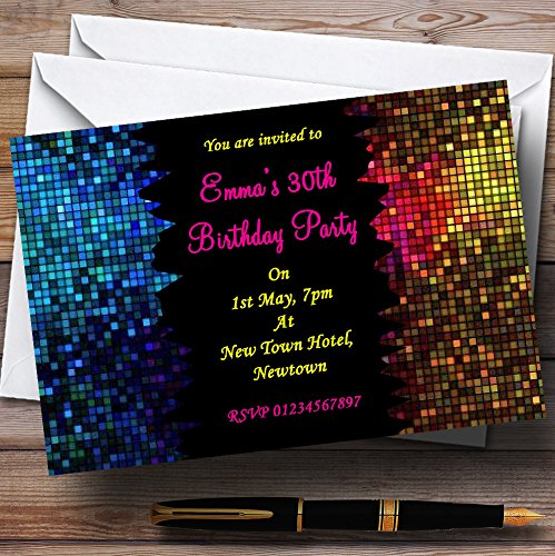 Disco Ball Pink Personalized Party Invitations (Disco Ball Invitations)